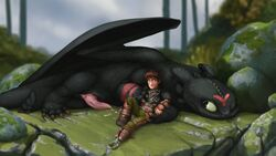 animal_genitalia claws detailed_background dragon duo erection feral genital_slit hiccup_(httyd) how_to_train_your_dragon human lando lying male mammal naughty_face night_fury on_back on_front one_eye_closed outside penis precum prosthetic reclining scalie slit tapering_penis toothless