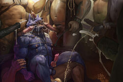 2015 abs anal anal_sex animal_genitalia anthro ass balls belly biceps big_penis blue_fur bondage bondage bound brown_fur bukkake canine canine_penis chubby cum cum_drip cum_everywhere cum_in_mouth cum_inside cum_on_chest cum_on_face cum_on_penis cumshot dripping equine erection feline from_behind fur group group_sex hair hand_on_penis harness hi_res holding_penis horse horsecock humanoid_penis jiandou lion male male/male mammal masturbation messy multicolored_fur musclegut muscular navel nipple_play nipple_weights nipples nude on_top oral orgasm orgy pecs penetration penis riding riding_crop sex simple_background solo_focus standing tan_fur teeth text uncut urine vein watersports wolf