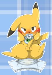 2015 anus ass balls bib blush diaper doneru embarrassed erection hands_on_face looking_at_viewer male mammal nintendo pacifier penis pikachu pokemon rodent simple_background solo uncensored video_games