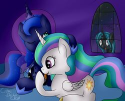 alicorn changeling clitoris clothing cremedelaclop_(artist) crown cunnilingus equine female footwear friendship_is_magic green_eyes group horn horse incest mammal my_little_pony oral pony princess_celestia_(mlp) princess_luna_(mlp) purple_eyes pussy queen_chrysalis_(mlp) sex shoes vaginal_penetration wings