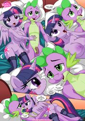 after_sex alicorn anthro bbmbbf bed big_breasts blush breasts clothing comic dragon equestria_untamed equine exhausted fangs female friendship_is_magic fur green_eyes hair half-closed_eyes horn legwear lying mammal multicolored_hair my_little_pony nipples nude on_back one_eye_closed open_mouth palcomix penis purple_eyes purple_fur purple_scales pussy raised_tail scales smile spike_(mlp) stockings sweat text twilight_sparkle_(mlp) wings