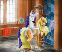 2015 anus applejack_(mlp) duo earth_pony equine female friendship_is_magic horn horse looking_at_viewer magic mammal my_little_pony pony pussy rarity_(mlp) shower soap szafir87 unicorn water