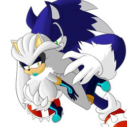 anthro big_breasts boots breasts clothing duo female footwear gloves hedgehog hi_res male male/female mammal ravnic rule_63 sex silver_the_hedgehog sonic_(series) sonic_the_hedgehog sonic_the_werehog werehog