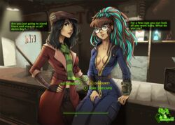 bar black_hair bodysuit brown_eyes brown_hair bulge cameltail cap cleavage dickgirl fallout fallout_4 female futa_with_female futanari glasses highlights hizzacked long_hair medium_breasts open_clothes penis_under_clothes piper_wright scarf short_hair standing text