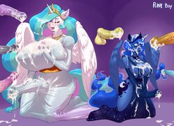 2015 absurd_res alicorn animal_genitalia anthro anthrofied areola balls big_breasts blue_skin blush breasts cleavage closed_eyes clothed clothing crown cum cum_in_hair cum_on_breasts cum_on_face cum_on_ground cum_through_clothing cutie_mark dickgirl dickgirl/male disembodied_penis dress duo_focus elbow_gloves equine erection feathered_wings feathers friendship_is_magic gloves group hair hi_res horn horsecock huge_breasts huge_cock intersex intersex/male kneeling long_hair male mammal messy multicolored_hair my_little_pony nipples one_eye_closed open_mouth penis plankboy princess_celestia_(mlp) princess_luna_(mlp) sibling sisters vein veiny_penis white_skin wings