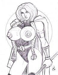 ass breasts female marvel monochrome nipples solo thor valkyrie