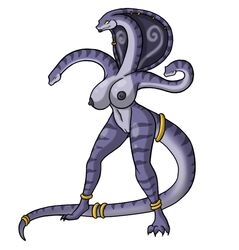 anthro blue_skin claws female female_only greece greek_mythology hydra large_breasts long_tail lordstevie multiple_heads mythology nude pussy solo standing tail tail_ring white_background yellow_sclera