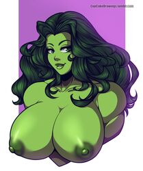 breasts bust cupcake992 female green_eyes green_hair green_skin muscular_female nipples she-hulk solo topless