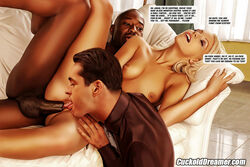 bbc big_penis blonde_hair cuckold cuckolddreamer cunnilingus dark-skinned_male dark_skin english_text interracial threesome