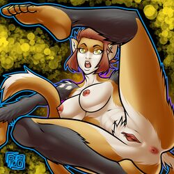 2015 abstract_background alizee anthro anus ass barefoot breasts eyelashes female fur hair mammal multicolored_fur nipples nude open_mouth orange_hair pointy_ears presenting presenting_pussy primate pussy raised_leg reabault short_hair solo spreading toes yellow_eyes yellow_fur