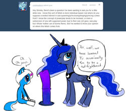 alicorn animal_genitalia blue_eyes blue_feathers blue_fur blue_hair cutie_mark dialogue dildo duo english_text equine equine_dildo feathers female feral friendship_is_magic fur hair horn mammal multicolored_hair my_little_pony norithics penis princess_luna_(mlp) sex_toy simple_background text two_tone_hair white_background white_hair wings
