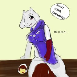 2015 anthro caprine clothed clothing female food frisk goat horn long_ears mammal monster toriel undertale video_games