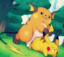 all_fours anal anal_sex balls biting_lip clenched_teeth doggy_style duo dutch_angle eroborus forest from_behind legendary_pokémon level_difference male male/male mammal mew nintendo outside penetration penis pikachu pokemon raichu rodent semi-anthro sex sheath size_difference straining tail_grab teeth tree video_games voyeur