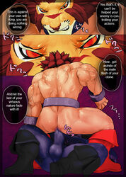 abs anal anal_sex anthro biceps bulge clothed clothing comic cum duo english_text feline hair half-dressed japanese_text kitticlub leo_(red_earth) lion male male/male mammal monster pecs penetration penis sex teeth tentacle text tongue tongue_out topless