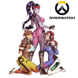 3girls absurdres amelie_lacroix arms_behind_back ass blush bodysuit bondage breasts brown_eyes brown_hair chains collar d.va femdom goggles hana_song high_heels kneeling large_breasts leash lena_oxton licking long_hair multiple_girls open_mouth overwatch ponytail purple_hair purple_skin reptileye saliva short_hair skin_tight slave tongue_out tracer_(overwatch) widowmaker_(overwatch) yuri