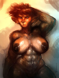 2015 abs anthro biceps big_breasts blush breasts exercise feline female gym looking_at_viewer mammal muscular neurodyne simple_background solo sweat weightlifting workout
