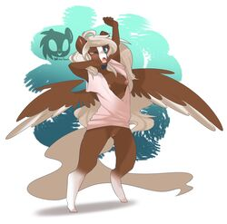 anthro areola bottomless breasts brown_fur clothed clothing equine female fur grey_hair hair half-dressed mammal nipples one_eye_closed open_mouth open_shirt pegasus pussy shirt simple_background solo standing teeth tongue wicklesmack wings