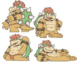 bowser clothing looking_at_viewer lovely_star mario_bros nintendo penis red_eyes vein veiny_penis video_games