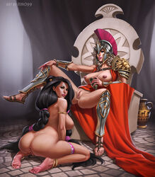 2girls anklet anus armlet armor ass barefeet beatrix_(legend_of_queen_opala) big_breasts black_hair blue_eyes breasts cape dark_skin farah feet female green_eyes helmet kneeling large_breasts legend_of_queen_opala long_hair nipples pussy rino99 sitting squatting thigh_strap