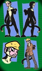 anthro balls basil_h._kinsey capuchin_monkey clothing dotted_background eyewear front_view glasses gloves half-erect hat headshot_portrait long_tail male mammal model_sheet monkey multiple_versions nude pants partially_retracted_foreskin penis portrait prehensile_feet primate reaching rear_view shirt solo uncut vonboche