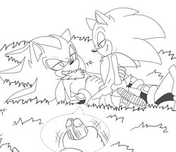 anal angelofhapiness handjob line_art male male/male outside penis shadow_the_hedgehog sonic_(series) sonic_the_hedgehog