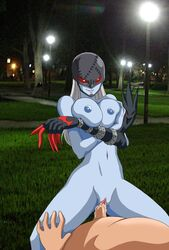 areola big_breasts breasts clitoris cum cum_in_pussy cum_inside demon digimon digiphilia erect_nipples exhibitionism female grey_skin grin hair horny ladydevimon male male/female navel night nipples park penetration public pussy red_eyes sleeve_gloves street_lights tree vaginal_penetration vaginal_penetration white_hair