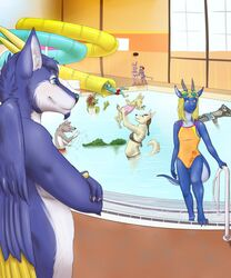 anthro arki bikini canine clothing comic crocodile crossdressing dragon eyewear female girly glasses group horn lagomorph legionaire male mammal one-piece_swimsuit paws rabbit reptile scalie spacekitten swimming_pool swimsuit water wolf