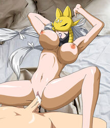 areola bed bedroom big_breasts breasts clitoris cum cum_in_pussy cum_inside digimon digiphilia erect_nipples female hair male male/female navel nipples penetration penis pussy sakuyamon vaginal_penetration vaginal_penetration vein veiny_penis white_hair