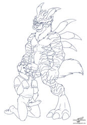 animal_genitalia anthro balls barefoot begging_pose bottomless canine canine canine_penis clothed clothing digimon digital_drawing_(artwork) digital_media_(artwork) digitigrade erection half-dressed half-erect head_grab humanoid_penis knot looking_down mammal monochrome muscular naughty_face nude partially_retracted_foreskin penis penis_on_face precum sheath shirt size_difference tongue tongue_out uncut weregarurumon wolfblade