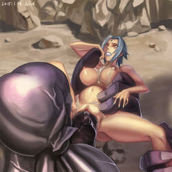 after_sex blue_hair breasts cum cum_on_belly cum_on_breasts eud_(systemblue) female helpless imminent_penetration impossible_fit laquadia_(legend_of_queen_opala) large_breasts legend_of_queen_opala male monster monster_cock navel nipples nude pussy sex short_hair vaginal_penetration yellow_eyes