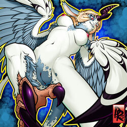 2013 abstract_background anthro avian blue_feathers breasts eyelashes feathers female hair harpy horn long_ears lumi nipples nude pink_hair presenting presenting_pussy pussy reabault red_eyes white_feathers wings