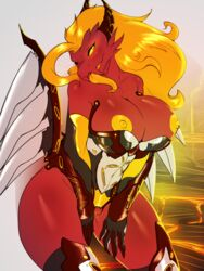 2015 anthro areola armor avante92 big_breasts blonde_hair breasts dragon female forked_tongue gauntlets hair horn lava long_tongue nipples pussy pussy_juice slit_pupils solo tongue wings yellow_eyes