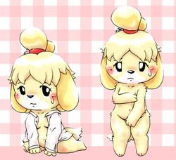 animal_crossing anthro black_nose blonde_hair canine canine clothing female fur hair hair_ornament isabelle_(animal_crossing) mammal nintendo nude short_hair solo uniform unknown_artist video_games white_fur yellow_fur