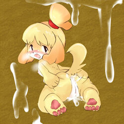 animal_crossing anthro ass black_nose blonde_hair canine canine cum female fur hair hair_ornament isabelle_(animal_crossing) looking_back mammal nintendo nude open_mouth pussy short_hair smile solo spreading unknown_artist video_games white_fur yellow_fur