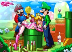 2boys animated beer bent_over blonde_hair bodysuit bottle breast_press drunk facial fellatio female from_behind hair_pull human licking luigi male mario mario_kart nintendo open_mouth oral penis ponytail princess_peach sex spitroast straight super_mario_bros. tekuho tekuhonohabo threesome tongue tongue_out