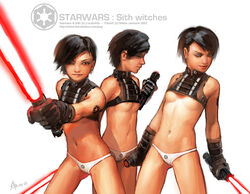 2003 black_hair female lightsaber niklas_jansson nipple_slip panties red_eyes red_lightsaber short_hair sith small_breasts star_wars tagme tattoo underboob white_panties young