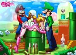 2boys animated beer bent_over blonde_hair bodysuit bottle breast_press cum cum_in_mouth cum_inside cum_on_hair drunk ejaculation facial fellatio female from_behind hair_pull human licking luigi male mario mario_kart nintendo open_mouth oral penis ponytail princess_peach sex spitroast straight super_mario_bros. tekuho tekuhonohabo threesome tongue tongue_out