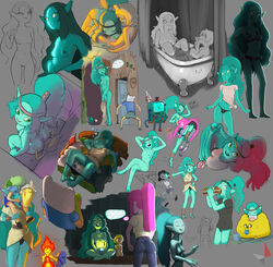 adventure_time anthro blood blue_hair blue_skin bmo breasts canyon_(adventure_time) cinnamon_bun clothing cum d-rock drockdraw female finn_the_human flame_princess giantess green_eyes hi_res jake_the_dog larger_female male marceline nipples nude penis princess_bubblegum pussy sex size_difference