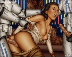 1girl 2boys areolae armor asian black_hair brown_eyes bultar_swan clone_trooper clothed_male crying cum cum_in_mouth cum_in_pussy cum_on_chest cum_on_face female from_behind hair_grab interracial jedi male/female nipples rape restrained ripped_clothes shabby_blue small_breasts star_wars straight tears vaginal_penetration