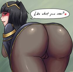artist_request ass bent_over black_eyes black_hair blush bodysuit cameltoe come_hither dat_ass female fire_emblem fire_emblem:_kakusei from_behind gradient_background hard_translated huge_ass long_hair looking_back naughty_face seductive_smile shiny shiny_clothes smile solo tharja translated uncensored