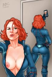 ass avengers bbc-chan black_widow bodysuit breasts cellphone cleavage female gloves green_eyes handy large_breasts lips marvel marvel_comics mobile_phone natasha_romanoff nipples red_hair redhead selfie short_hair smartphone solo tagme teeth unzipped