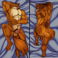 1boy abs anus ass ayvee balls bed bleach canine colored dakimakura_design erection looking_at_viewer male male_only mammal muscular nude pecs penis sajin_komamura solo wolf