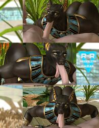 2015 3d_(artwork) albino anthro anubian_jackal anubis armband ass ass_up balls biceps big_butt big_penis canine cgi collar deity digital_media_(artwork) duo egyptian erection fellatio jackal male male/male mammal muscular nude open_mouth oral penis r-a-s-p_(artist) sex thick_thighs tongue tongue_out yellow_eyes