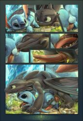2016 anal anal_sex anus balls comic disney how_to_train_your_dragon lilo_and_stitch male male/male oral penetration penis size_difference stitch toothless tricksta