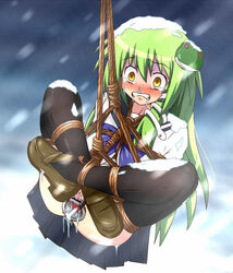 ball_gag black_legwear blush bondage cold crying green_hair helpless saliva school_uniform slave snow suspension tears tied wet worried yellow_eyes