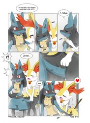 ! braixen comic heart lucario nintendo pokemon pussy pussy_juice video_games wet winick-lim