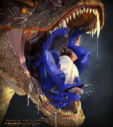 2014 3d_(artwork) all_the_way_through ambiguous_gender anal anal_sex animal_genitalia anthro anus blue_scales cgi claws cum deep_rimming digital_media_(artwork) dragon dripping drooling duo erection extreme_penetration feral firondraak gaping gaping_anus hi_res horn large_insertion large_insertion leaking lizard male nude open_mouth oral oral_vore orgasm penetration penis reptile rimming salireths saliva scales scalie sex sharp_teeth simple_background size_difference smaller_male smaug soft_vore stomach_bulge stretching teeth the_hobbit tongue tongue_out vore yellow_eyes