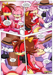 amy_rose ass bbmbbf bed bottomless clothed clothing comic female female/female fiona_fox group mobius_unleashed nic_the_weasel palcomix panties pussy sonic_(series) text underwear undressing