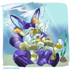 balls big_the_cat coolblue cream_the_rabbit female male penis pussy size_difference sonic_(series) underwater vaginal_penetration