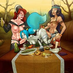 blue_hair breasts double_penetration female foxeye futa_on_female futanari mey-mey red_hair tophatharry